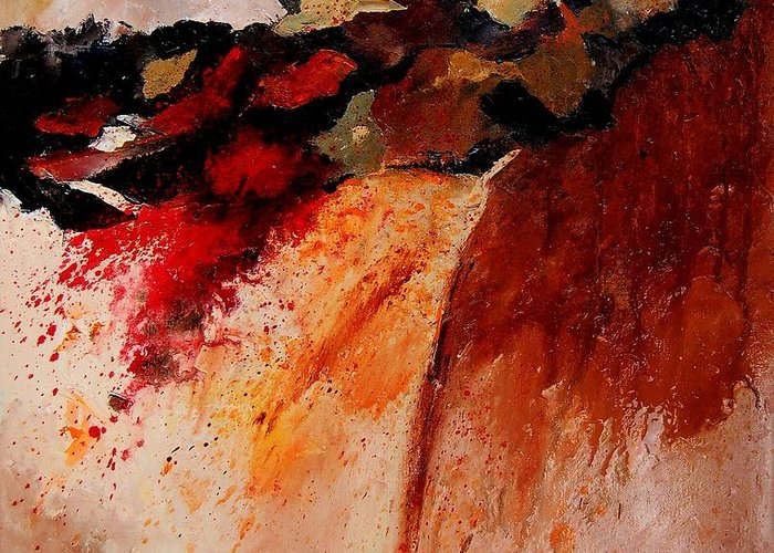Abstract Greeting Card featuring the painting Abstract 010607 by Pol Ledent