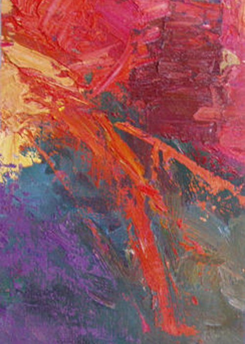 Abstract Greeting Card featuring the painting Abstract 103A by Betty Jean Billups