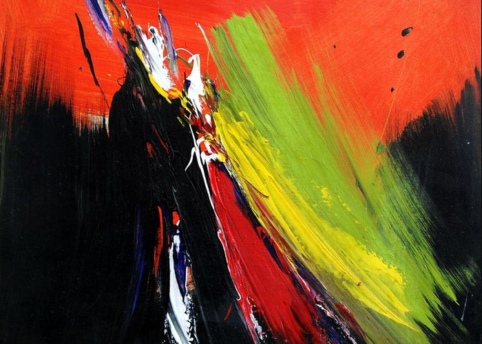 Abstract Greeting Card featuring the painting Abstract 2002 by Mario Zampedroni