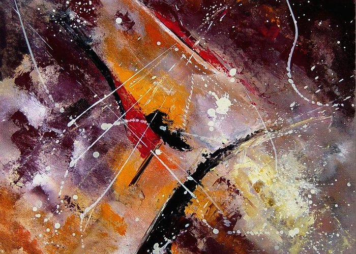 Abstract Greeting Card featuring the painting Abstract 45 by Pol Ledent