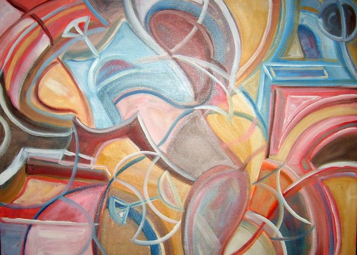 Abstract Design Greeting Card featuring the painting Abstract 5 by Joseph Sandora Jr