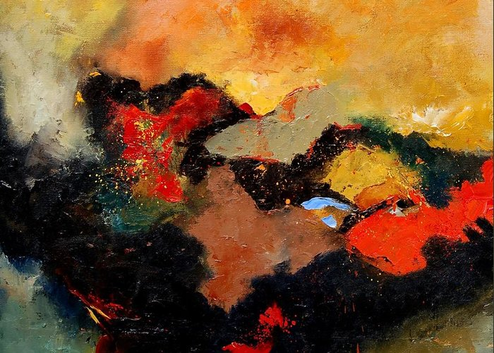 Abstract Greeting Card featuring the painting Abstract 8080 by Pol Ledent