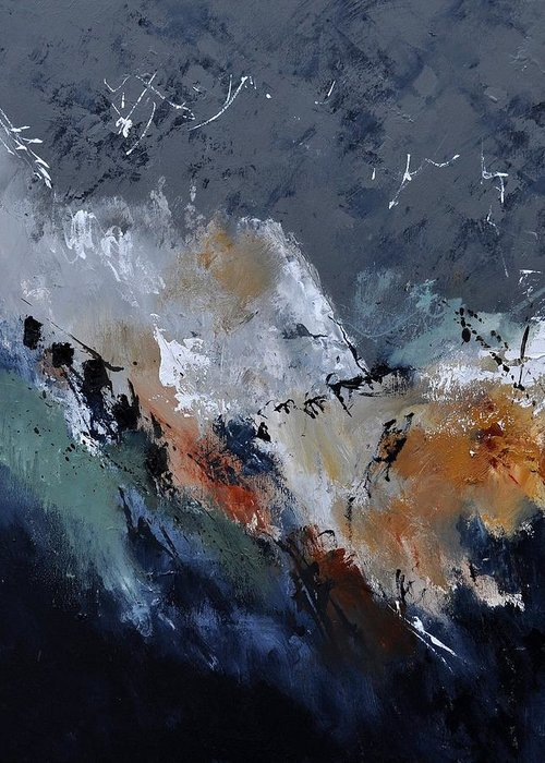 Abstract Greeting Card featuring the painting Abstract 8821901 by Pol Ledent