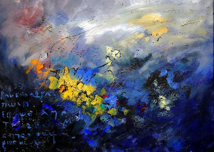 Abstract Greeting Card featuring the painting Abstract 970208 by Pol Ledent
