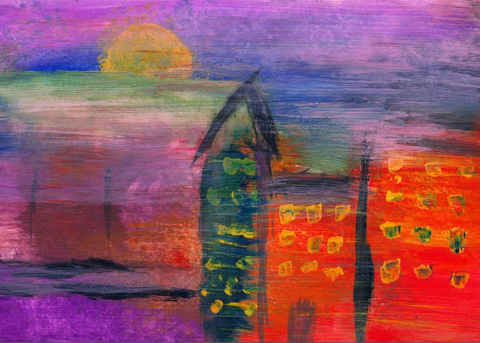 Abstract Greeting Card featuring the photograph Abstract - Acrylic - Lost In The City by Mike Savad