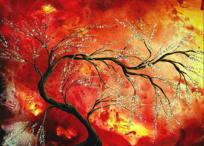 Abstract Greeting Card featuring the painting Abstract Art Floral Tree Landscape Painting Fresh Blossoms By Madart by Megan Duncanson