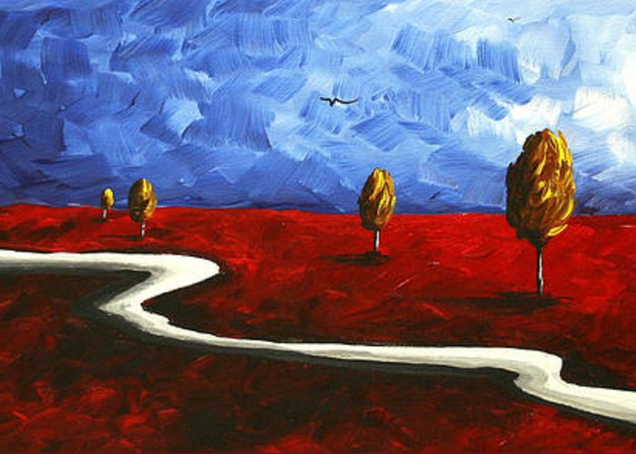 Abstract Greeting Card featuring the painting Abstract Art Original Landscape Painting Winding Road By Madart by Megan Duncanson
