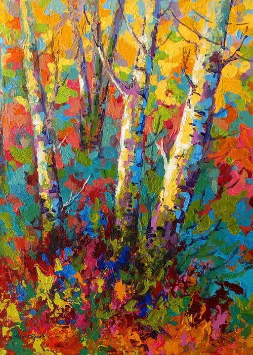 Trees Greeting Card featuring the painting Abstract Autumn II by Marion Rose