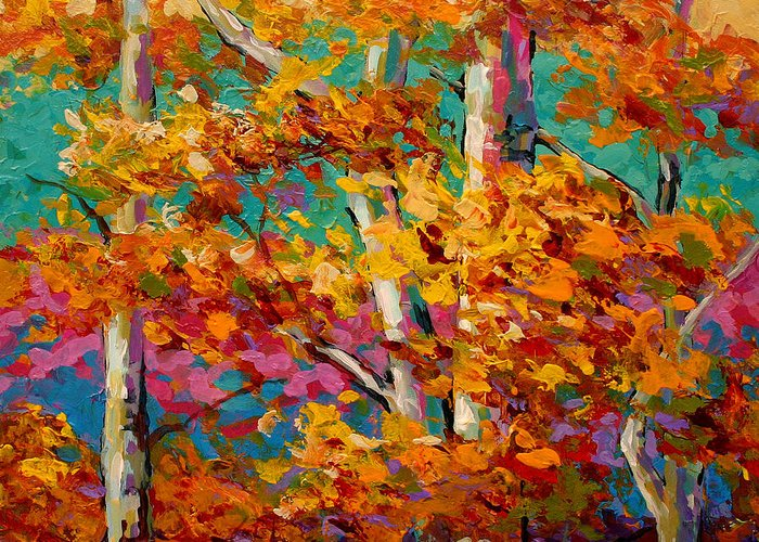 Trees Greeting Card featuring the painting Abstract Autumn IIi by Marion Rose