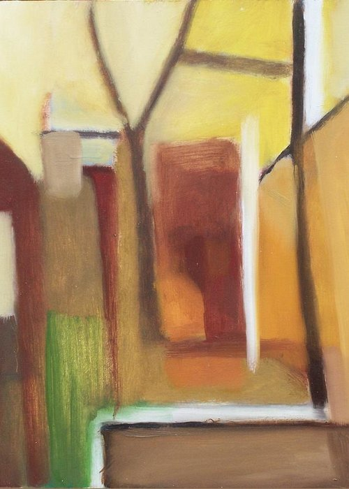 Landscape Greeting Card featuring the painting Abstract Backyard 2008 by Ron Erickson