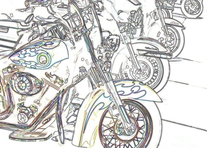 Motorcycle Greeting Card featuring the photograph Abstract Bikes by Tom Gari Gallery-Three-Photography