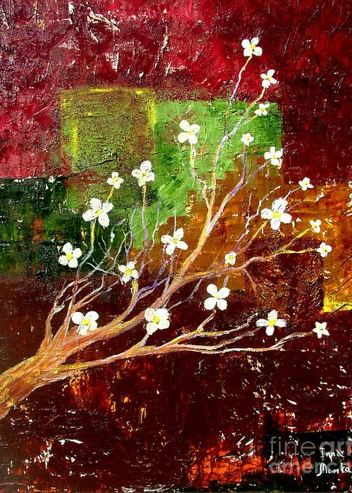 Abstract Greeting Card featuring the painting Abstract Blossom by Inna Montano