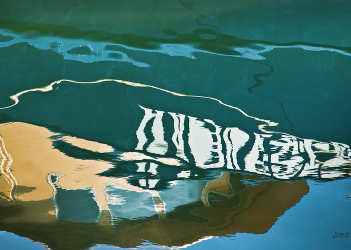 Abstract Greeting Card featuring the photograph Abstract Boat Reflection by Dave Gordon