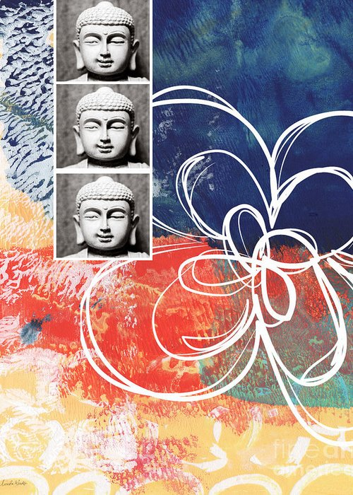 Buddha Greeting Card featuring the mixed media Abstract Buddha by Linda Woods