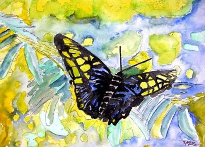 Abstract Greeting Card featuring the painting Abstract Butterfly by Derek Mccrea