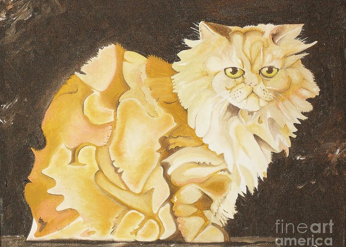 Cat Greeting Card featuring the painting Abstract Cat by Joseph Palotas