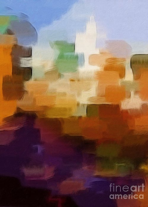 Urban Greeting Card featuring the painting Abstract Cityscape by Lutz Baar