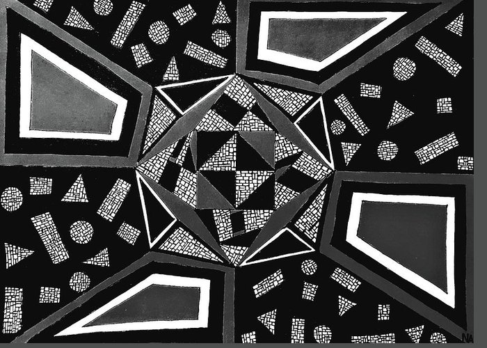Abstract Drawing Greeting Card featuring the drawing Abstract Cobblestone Blk/wht. by Neal Alicakos