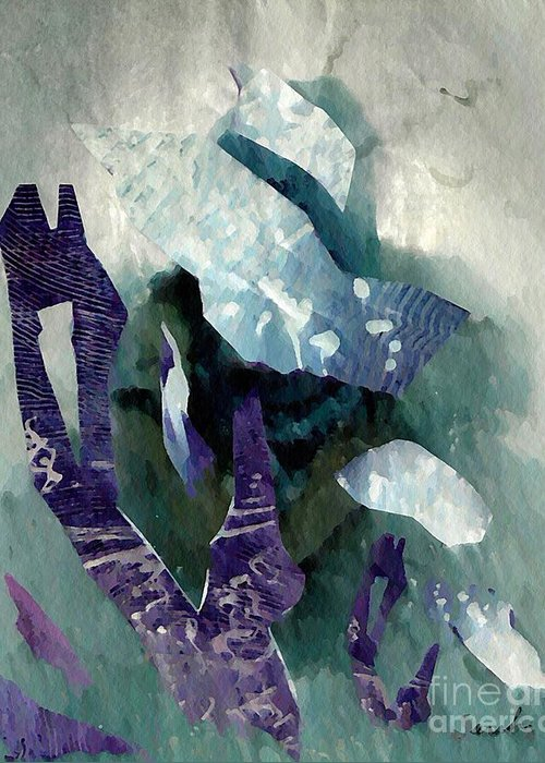 Abstract Greeting Card featuring the mixed media Abstract Construction by Sarah Loft