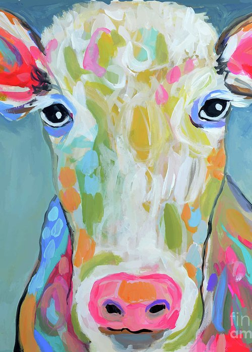 d8e149ab24b Cow Greeting Card featuring the painting Abstract Cow 1 by Karen Fields