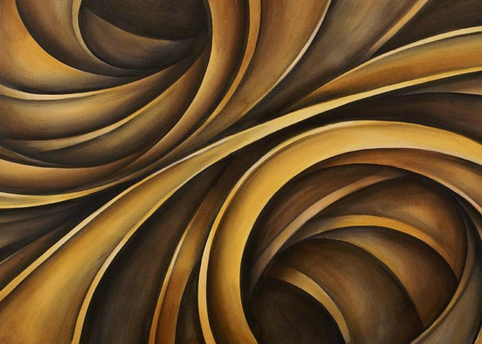Earth Tones Brown Ribbon Abstract Flowing Motion Greeting Card featuring the painting Abstract Design 34 by Michael Lang