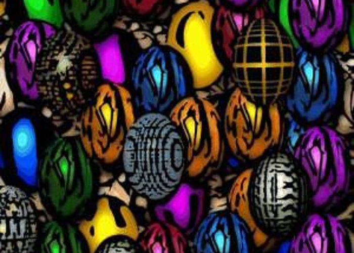 Eggs Greeting Card featuring the digital art Abstract Digitial Eggs by Caroline Lifshey
