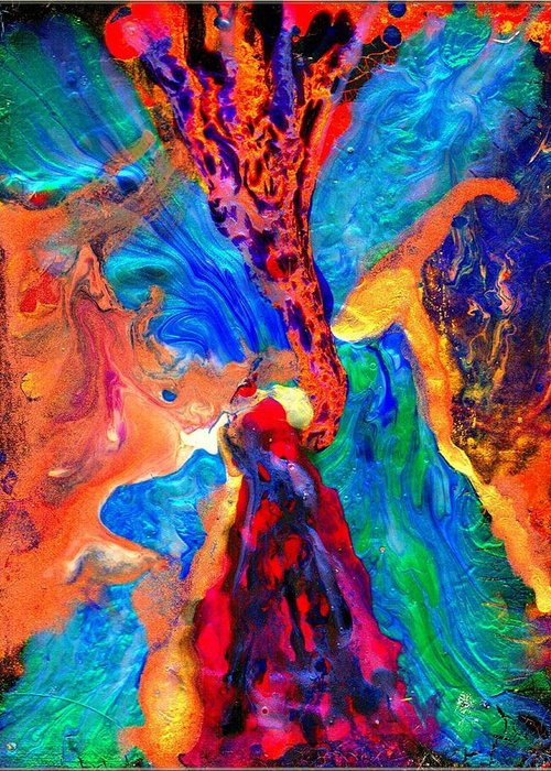 Abstract Greeting Card featuring the painting Abstract - Evolution Series 1004 by Dina Sierra