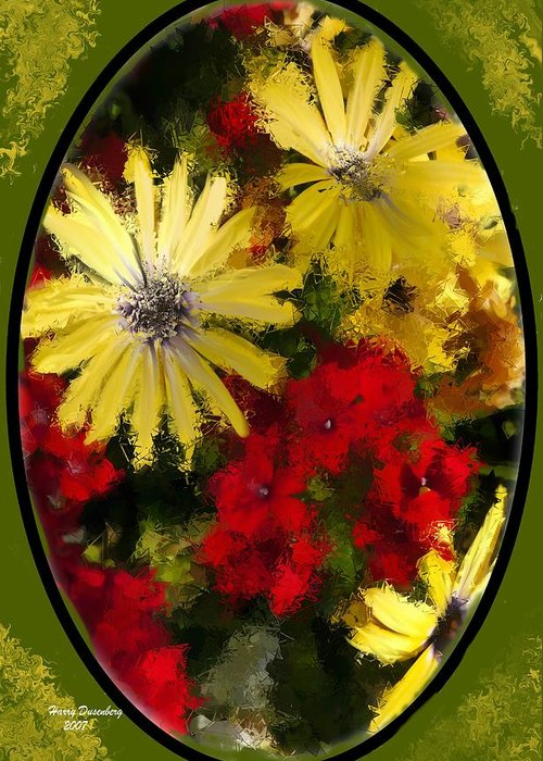 Flowers Greeting Card featuring the painting Abstract Flowers 2 by Harry Dusenberg