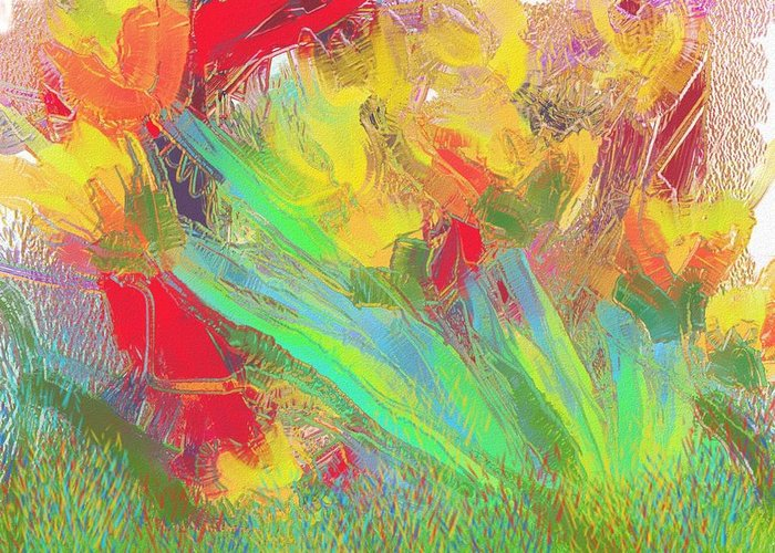 Abstract Greeting Card featuring the painting Abstract Flowers by Harry Dusenberg