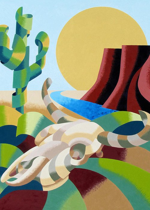 Bull Greeting Card featuring the painting Abstract Futurist Soutwestern Desert Landscape Oil Painting by Mark Webster