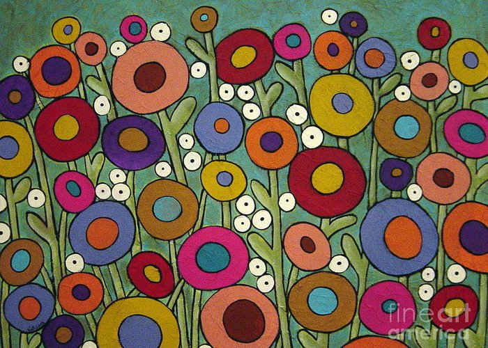 Flowers Greeting Card featuring the painting Abstract Garden by Karla Gerard