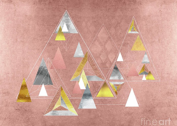 Triangles Greeting Card featuring the painting Abstract Geometric Triangles, Gold, Silver Rose Gold by Tina Lavoie