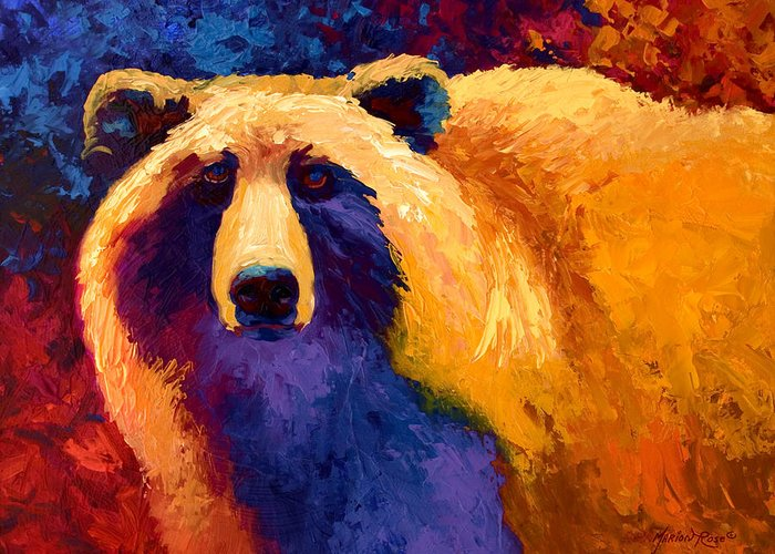 Western Greeting Card featuring the painting Abstract Grizz II by Marion Rose