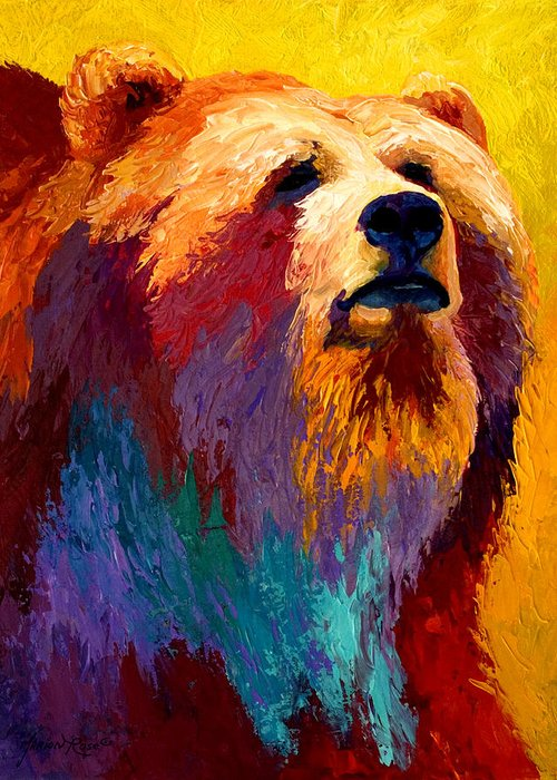 Western Greeting Card featuring the painting Abstract Grizz by Marion Rose