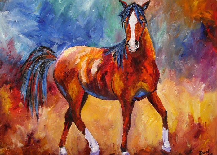 Horse Greeting Card featuring the painting Abstract Horse Attitude by Mary Jo Zorad