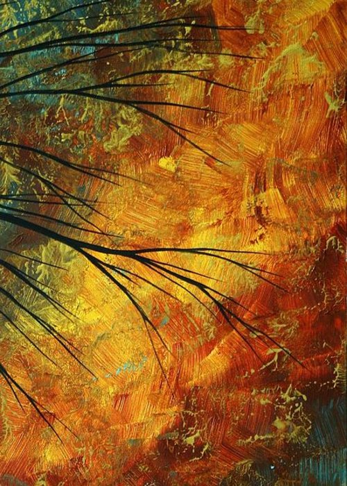 Abstract Greeting Card featuring the painting Abstract Landscape Art Passing Beauty 5 Of 5 by Megan Duncanson