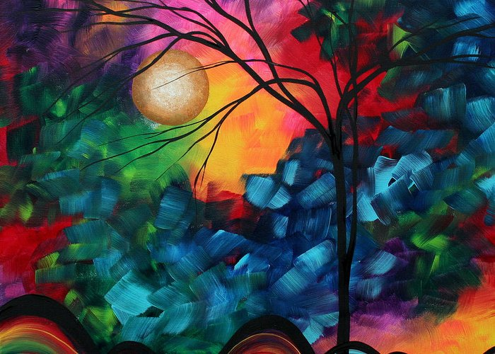 Abstract Greeting Card featuring the painting Abstract Landscape Bold Colorful Painting by Megan Duncanson