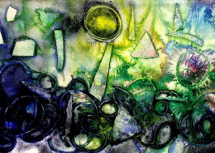 Abstract Greeting Card featuring the mixed media Abstract Landscape IIi by John Nolan