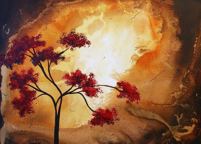Abstract Greeting Card featuring the painting Abstract Landscape Painting Empty Nest 12 By Madart by Megan Duncanson
