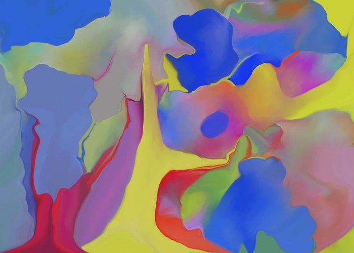 Abstract Greeting Card featuring the digital art Abstract Landscape by Peter Shor