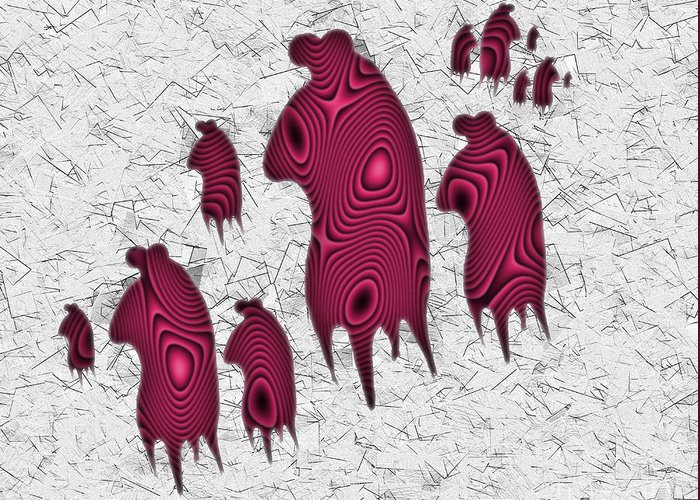 Monster Greeting Card featuring the digital art Abstract Monster Cut-out Series - Red Rally by Uncle J's Monsters
