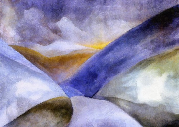 Blue Greeting Card featuring the painting Abstract Mountain Landscape by Michelle Calkins