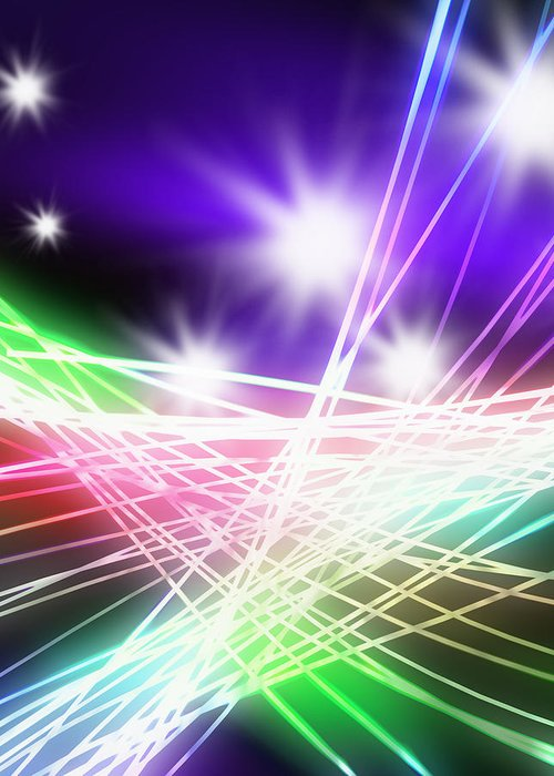 Abstract Greeting Card featuring the photograph Abstract Of Stage Concert Lighting by Setsiri Silapasuwanchai