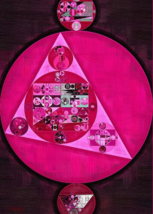 Triangle Greeting Card featuring the digital art Abstract Painting - Persian Pink by Vitaliy Gladkiy