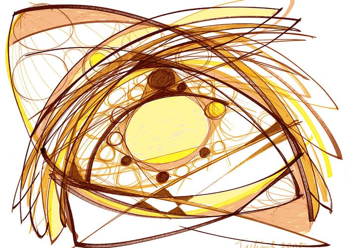 Abstract Art Greeting Card featuring the drawing Abstract Pen Drawing Eleven by Lynne Taetzsch