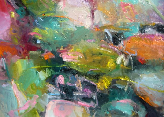 Abstract Greeting Card featuring the painting Abstract Pond 2 by Susan Jenkins