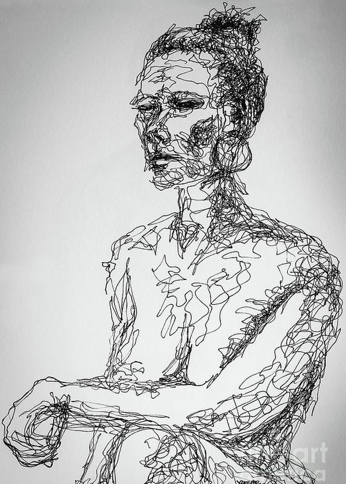 Abstract Portrait Continuous Line Drawing 3970 Greeting Card