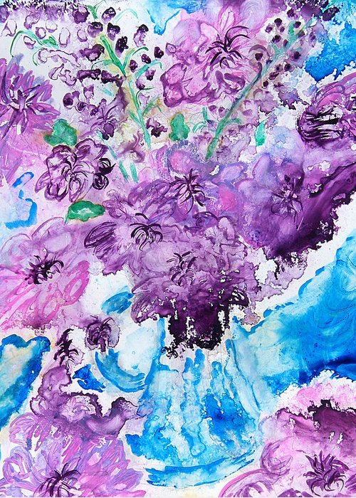 Landscape Greeting Card featuring the painting Abstract-purple Summer by Margaret G Calenda