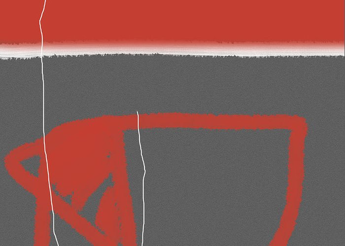 Abstract Greeting Card featuring the painting Abstract Red by Naxart Studio