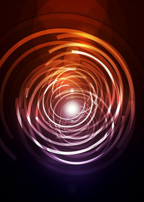 Abstract Greeting Card featuring the digital art Abstract Rings by Michael Tompsett